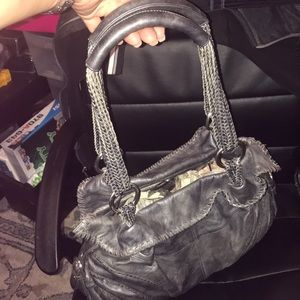 A large leather bag.